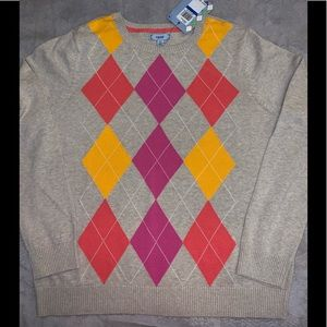 NWT Women's IZOD Argyle Print Sweater
